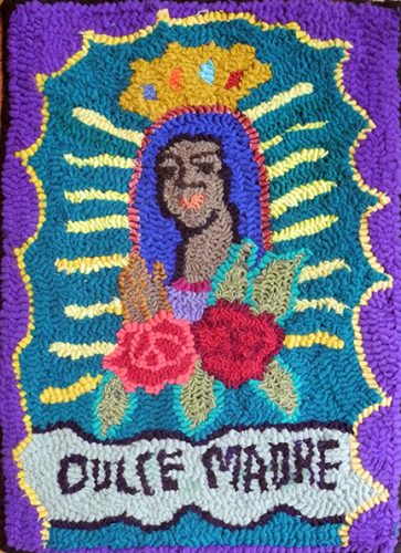 the virgin of Guadalupe hooked rug